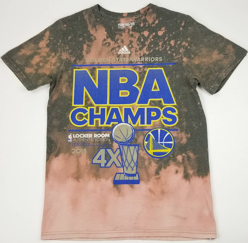 best loved 0dc14 e0535 Reworked ADIDAS Golden State Warriors 4X NBA Champions Locker Room  Authentic Edition Acid Washed T-shirt Sz Small streetwear hip hop rap tee