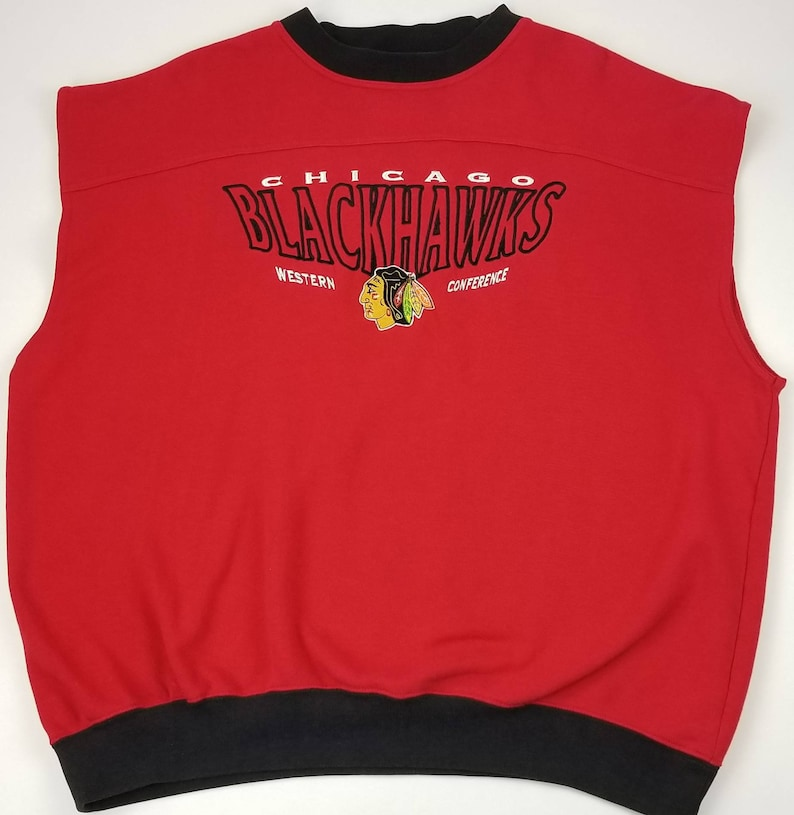 Reworked Vintage 90s Chicago Blackhawks NHL LEE Sport Warm Up Cut Off Crewneck Sweatshirt Sweater. XL bulls cubs bears white sox rap tee