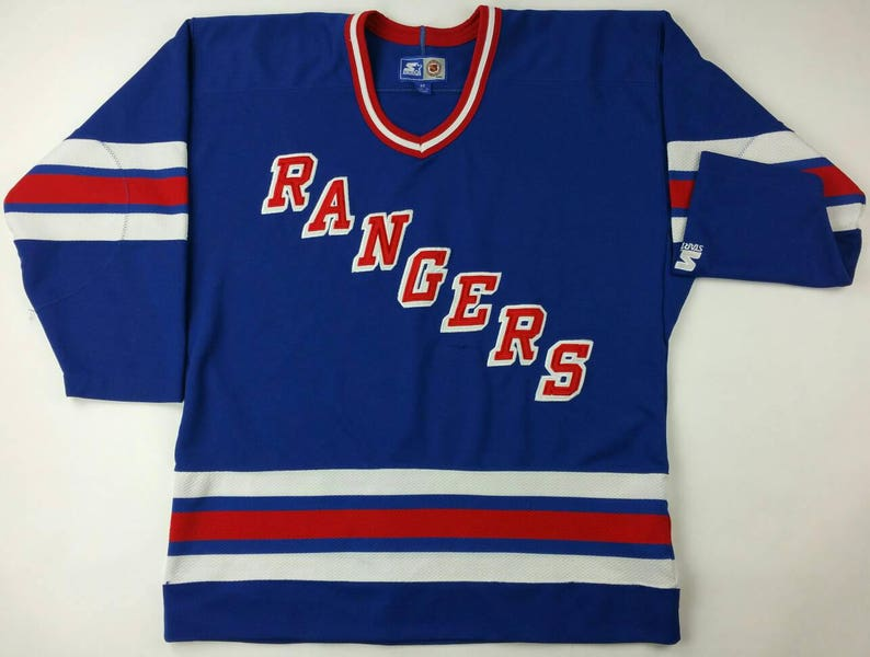 6cade3c01 Vintage 90s New York Rangers NHL Blue Home Hockey Starter Jersey Sz ...