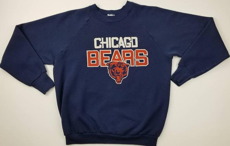 Vintage 80s Chicago Bears NFL Navy Blue Football Crewneck  67549daf8
