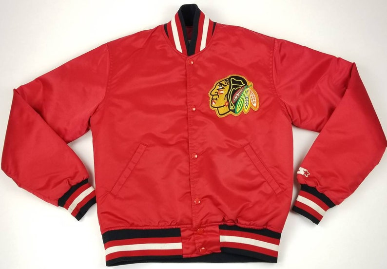 Vintage 90s Chicago Blackhawks NHL Red Satin Starter Jacket  e346661a9