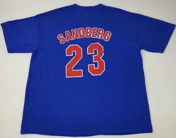 Vintage 90s Chicago Cubs Ryne Sandberg 23 1996 Blue MLB Jersey  6bf0375dc