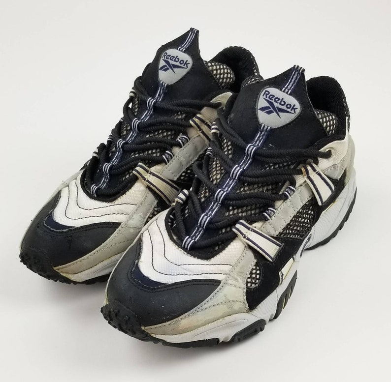 VINTAGE Reebok DMX Og Ls Trainers (Black, Gray, Silver, White) Dad Shoe. Men's Size: 8.5 chunky bulky sneakers