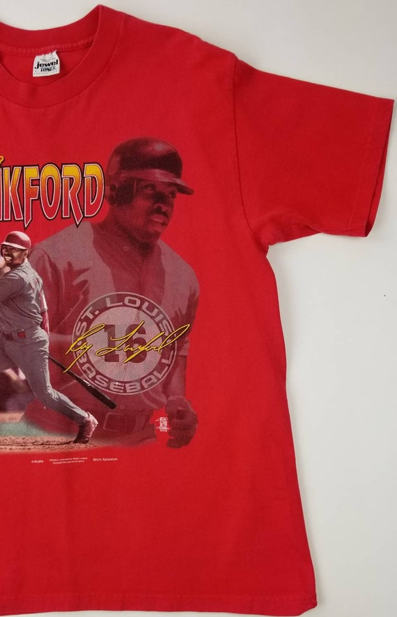 watch 4d9d8 6d572 Vintage 90s St. Louis Cardinals Ray Lankford MLB Red Baseball T-shirt Size  Large - urban streetwear hip hop rap tee all over print nelly
