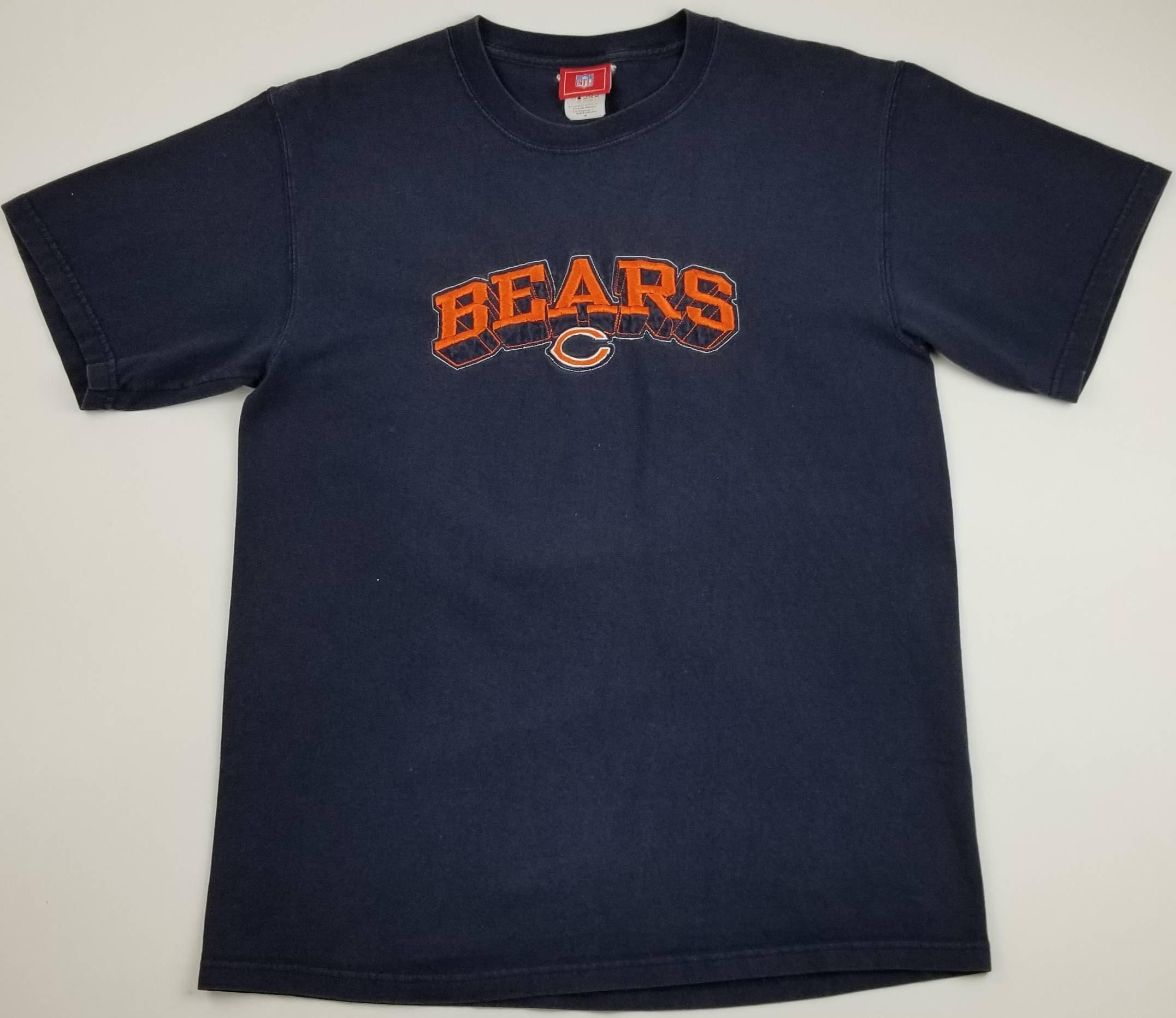 128cc397 Vintage Chicago Bears NFL Sewn / Stitched / Embroidered Blue Football  T-shirt Size Medium - bulls cubs white sox blackhawks hip hop rap tee