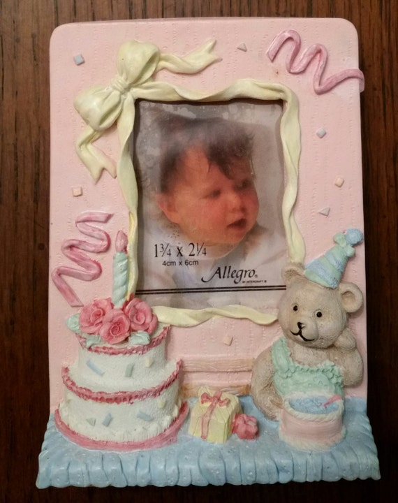 Vintage 1st Birthday Picture Frame Baby Girl Boy