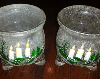 90's Christmas Scene Candle Holders, Crackle Glass, Heavy, Hand Painted