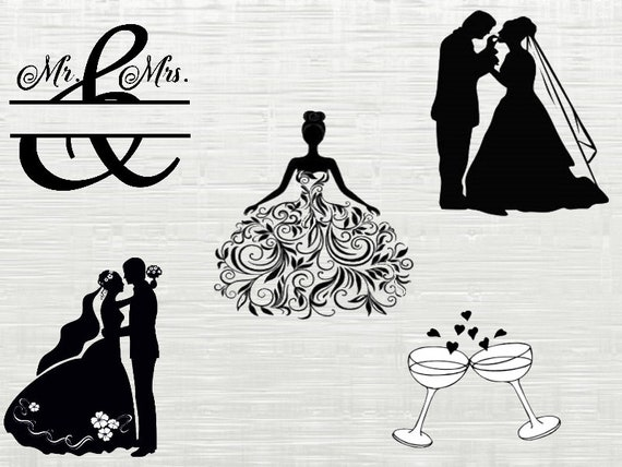 Wedding SVG, Bride SVG, wedding dxf files, wedding clipart, bridal svg for  silhouette, cricut , explore, cameo