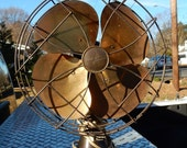 Antique Emerson Electric Company Brass Bladed Oscillating Fan Model 6250-H Works