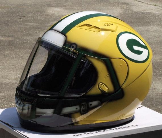 Green Bay Packers Custom Painted Motorcycle Helmet Etsy