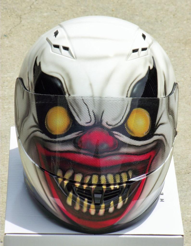 ¡Casco de moto pintado de la aerógrafo personalizado de payaso asustadizo!