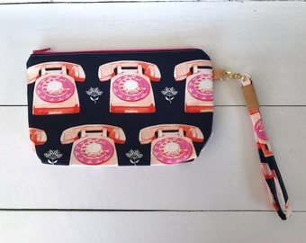 Cute Wristlet | Vintage Wristlet | Clutch | Pink and Blue Purse | Vintage Telephone