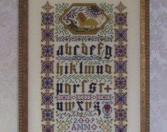 Cross Stitch PDF Pattern Illuminated Manuscript Sampler