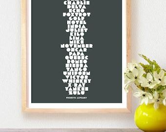 Abc PRINTABLE ART poster - Phonetic alphabet Nursery Art - Alphabet Nursery Decor,  Phonetic Educational art print,  INSTANT download 8x10