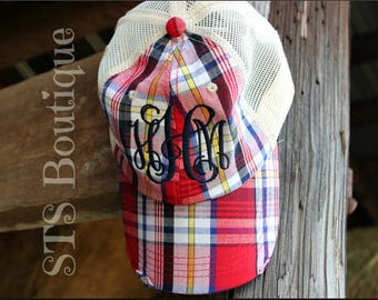 Monogrammed Plaid Trucker Hat - Snap Back d24729a4317