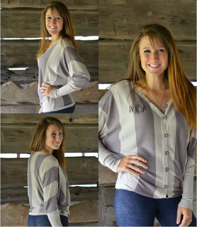 Monogrammed Wide Striped Button Front Cardigan