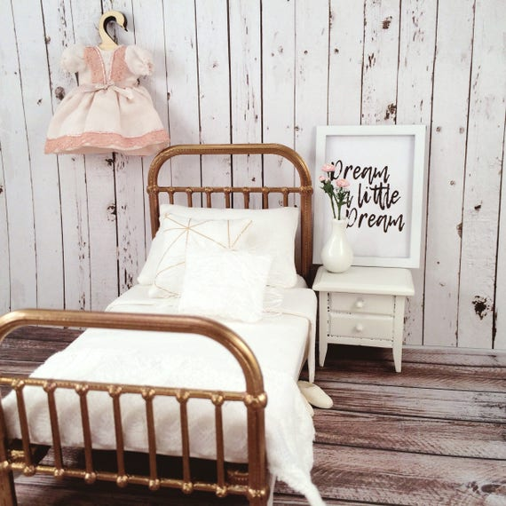 Miniature Bed White And Gold Dollhouse Bed 1 12 Scale Modern Etsy