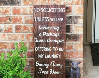 No soliciting unless you're giving away free beer - no solicitors sign - custom wood sign - rustic reclaimed wood sign - no solicitation