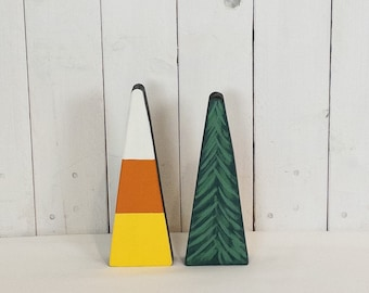 Reversible wooden holiday decor - candy corn - Christmas tree - mantle decor