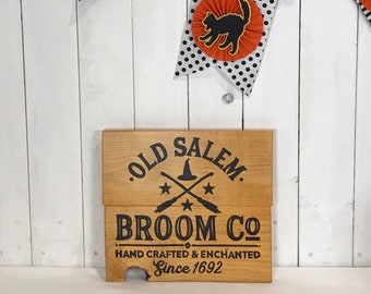 Witchy wall decor - Halloween sign - old Salem broom co