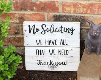 No solicitation sign - no soliciting door sign - reclaimed wood sign - no solicitors sign - rustic home decor - rustic door sign