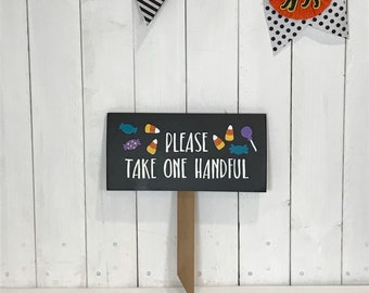 Candy bucket sign - take one piece - Halloween