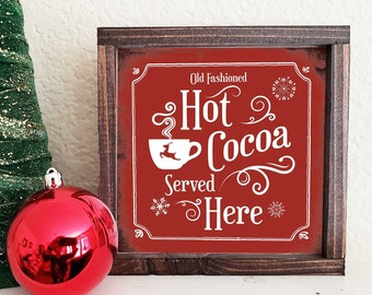 7ddc3f2250d61 Hot Cocoa Sign Farmhouse Vintage Hot Cocoa Sign Mini Farmhouse Christmas  Sign Wood Sign Free Shipping