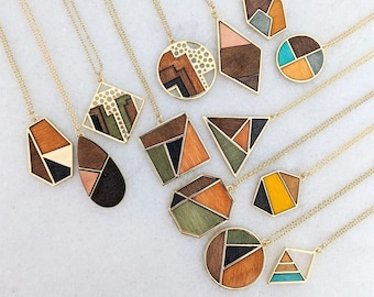 Wood Statement Necklace- Wood Necklace - Long Necklace - Warm Necklace - Fall Necklace - Gift for Xmas - Gift for Mom - Gift for friends