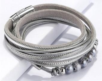 VITACCI Womens Leather Wrap Bracelets Trendy Wrist Cuff Bangle Wristband with Magnetic Clasp