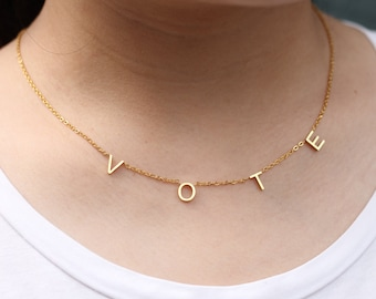 Michelle Obama Vote Necklace Name Necklace Personalized Spaced Letter Necklace Former First Lady Necklaces for Women