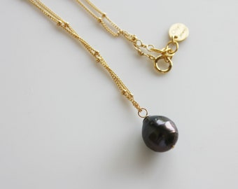 Tahitian pearl necklace/goldfilled
