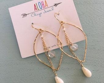 Mother of pearl leaf shape earrings/goldfilled
