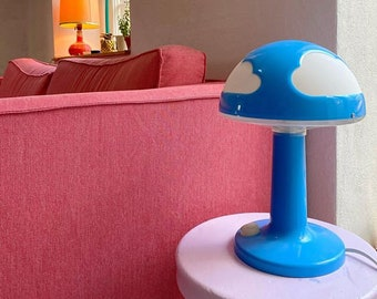 vintage mushroom lamp blau (orange) wolken  blue clouds cool design nachttischlampe eye-catcher