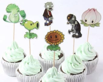 24 Pc Plants vs Zombies Cupcake Toppers Party Birthday Supplies