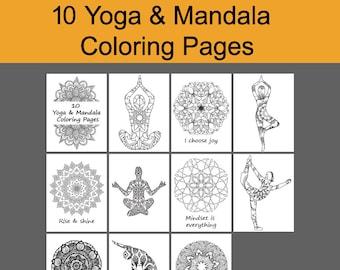 Yoga Coloring Book 10 Pages Instant Download Pdf Mandala Sheet Zen Art Printable MandalaPrintable YogaDIY