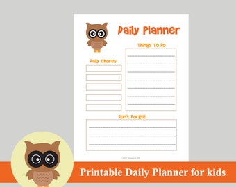 kids daily planner etsy