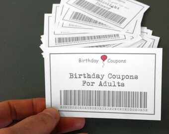 Birthday Coupons For Adults 39 Printable Diy Gift Instant Download Wife Husband GiftAdult