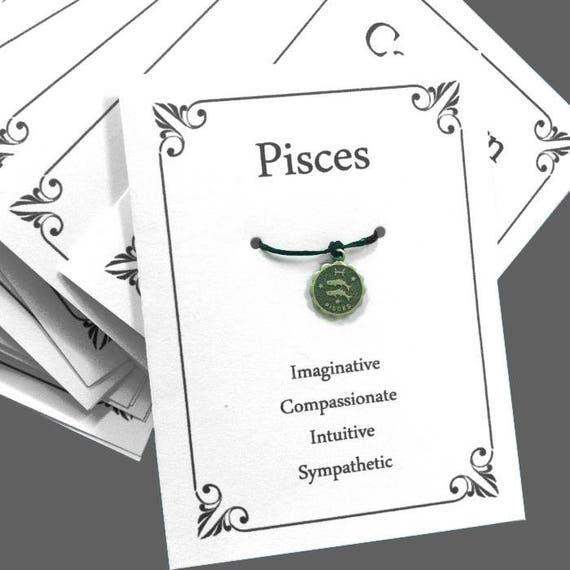 Pisces Birthday Wish Bracelet Zodiac Card Astrology Gift