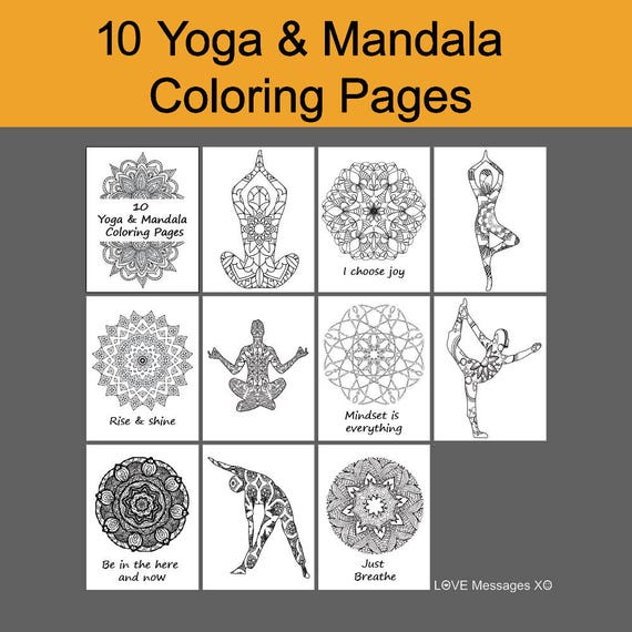Summer SALE Yoga Coloring Book 10 Pages Instant