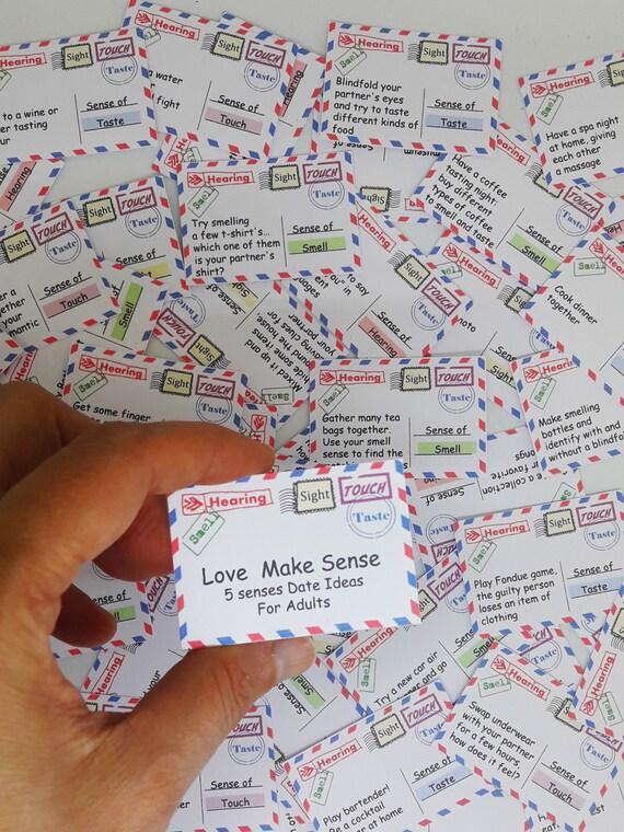 5 Senses Gift 50 Printable Cards Date Night Jar Valentines Etsy