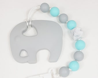 Elephant Teething Clip, Teething Baby, Baby Shower, baby gift, teething clip, soother clip, silicone elephant clip,