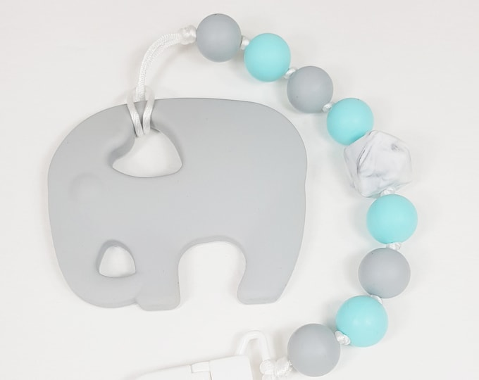 Elephant Teething Clip, Teething Baby, Baby Shower, baby gift, teething clip, soother clip, silicone elephant clip,