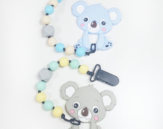 Koala Chewie Clip, Teething Baby, Baby Shower, baby gift, teething clip, soother clip, silicone clip, ASD, SPD, Sensory Disorder