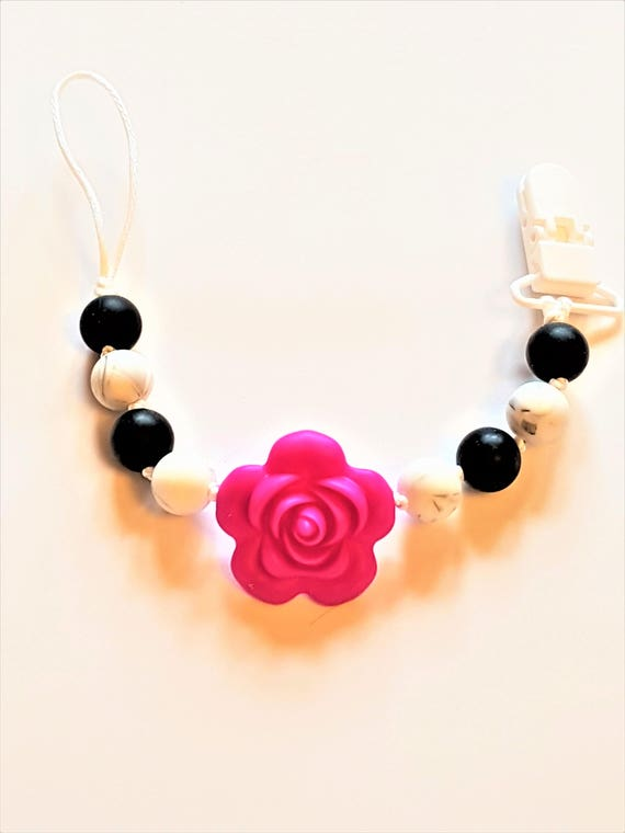 Rose silicone pacifier clip