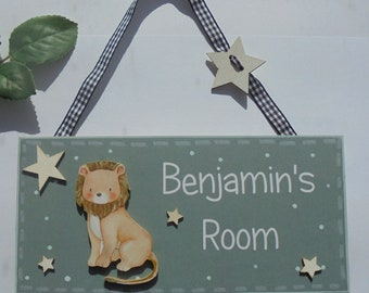 Stars Door Sign Plaque Childrens Kids **Any Name Available Max 7 letters** Wooden Hand painted Plaque Greys /& YELLOW