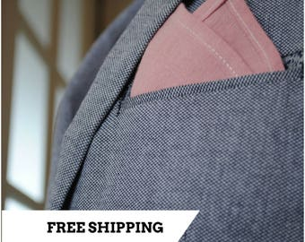 Pocket Square, Stonewashed Linen 100%, Handmade Handkerchief Pink