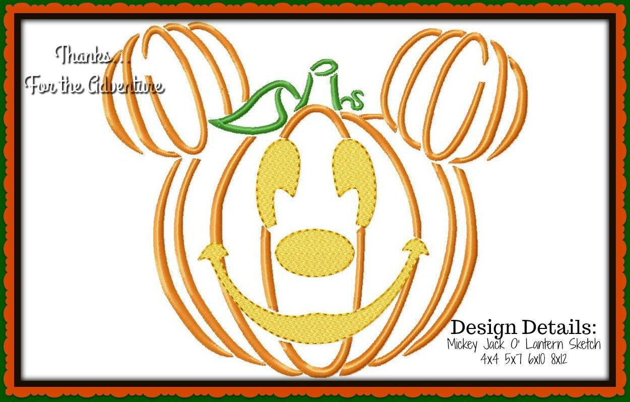 Halloween Mickey Mouse Jack O' Lantern Pumpkin Digital