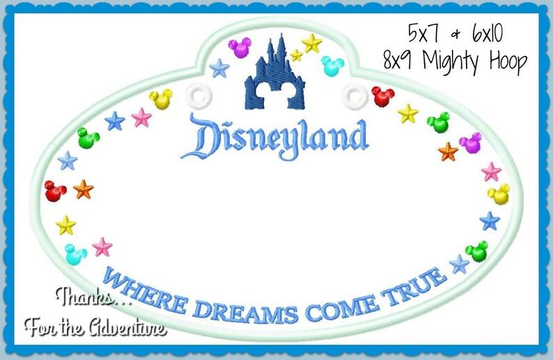 In The Hoop Disneyland Cast Member Name Stroller Tag Applique Digital  Embroidery Machine Design File 4x4 5x7 6x10 & 8x9 Mighty Hoop