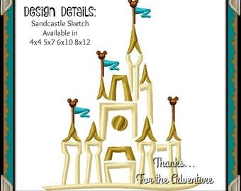 Cinderella Sand Castle Mickey Disney World Disneyland Ocean Beach Summer Sketch Digital Embroidery Machine Design File 4x4 5x7 6x10 8x12