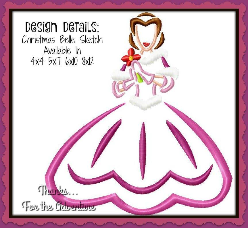 Weihnachten Prinzessin Belle von Schönheit und das Tier Skizze   Etsy